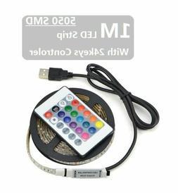 1M LED Strip USB 5050 RGB Flexible Desktop LED Light 5V TV B