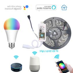 2m 5m Smart WiFi RGB Strip Light & RGBW Bulb for Alexa Googl