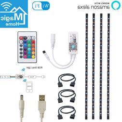 2m USB RGB Smart WiFi Strip Light TV Backlight Work with Ale