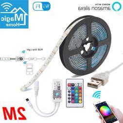 2m USB RGBW 120LED Strip Smart WiFi TV Back Light APP IR Rem