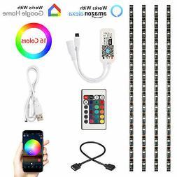 4pcs RGB USB Smart WiFi TV Back Strip Light 5050SMD 60LED fo