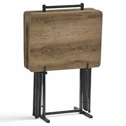 5 Piece Tray Table Set Folding Wood TV Game Snack Dinner Lap