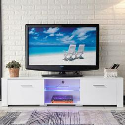 """63"""" High Gloss TV Stand Cabinet LED Shelves 2 Drawer Console"""