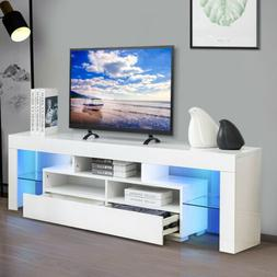 """70"""" TV Stand Unit Cabinet with LED Shelves 2 Drawer Console"""