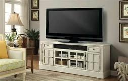 72 in. TV Console with Power Center in Antique Vintage White