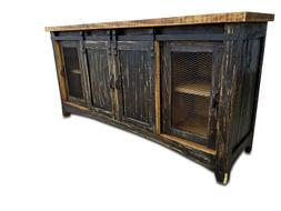 72 inch Barn Door Style TV Stand Rustic Rough Cut Black Fini