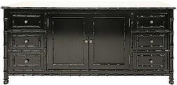 "72"" Long Alexandrin Flat Screen TV Console Hand Rubbed Black"