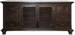 """72"""" Long Fiacre Flat Screen TV Console Hand Rubbed Brown Sol"""