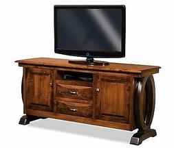 Amish Contemporary Saratoga TV Stand Solid Wood Console Cabi