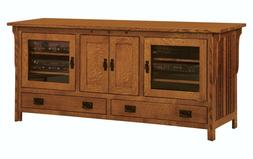 Amish Royal Mission Arts & Crafts TV Stand Console Solid Woo
