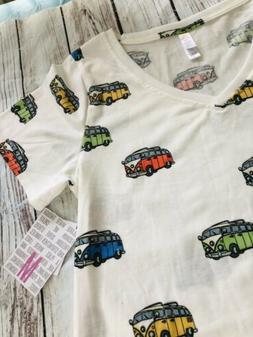 Lularoe Christy Shirt T V-Neck Volks-Wagen Bus VW Bus - NWT
