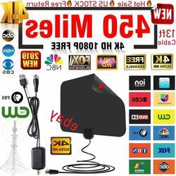 450 Miles Range Digital TV Antenna 1080P Amplified HDTV Boos