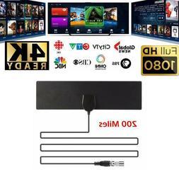 Flat Indoor Digital TV Antenna 200 Mile Range 1080P Signal A