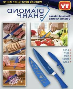 Diamond Sharp Knife & Peeler, Diamonds Ceramic Coated Chef K
