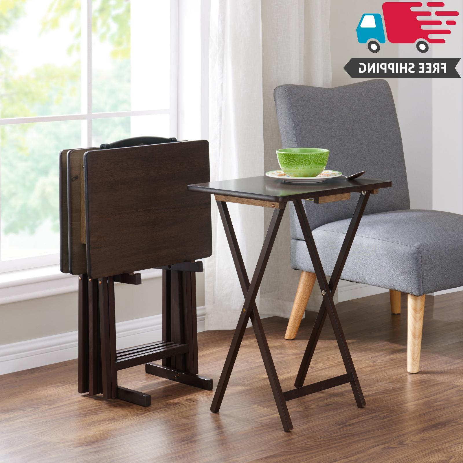 5 Piece Folding TV 4 Tray + Stand Set Wood Dinner Walnut Sid