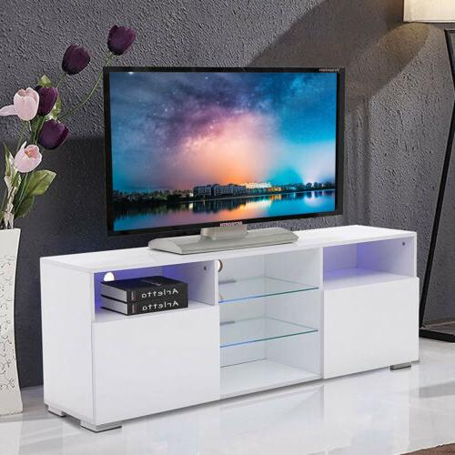 High Gloss White 58'' TV Stand Unit Cabinet with LED Light 2