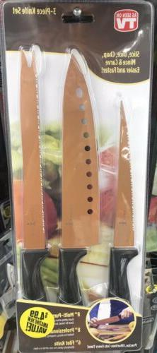 As Seen On Tv COPPER CHEF 3-PIECE KNIFE SET Slicer, Chef Kni
