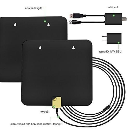 HDTV TV Antenna for TV Best Miles Power Amplifier, FT High Performance Cable for 1080P 4K