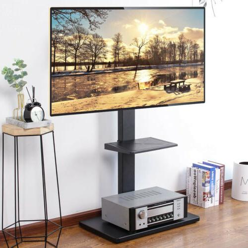 Floor TV Stand With Mount Strong Integral Metal Support Pole