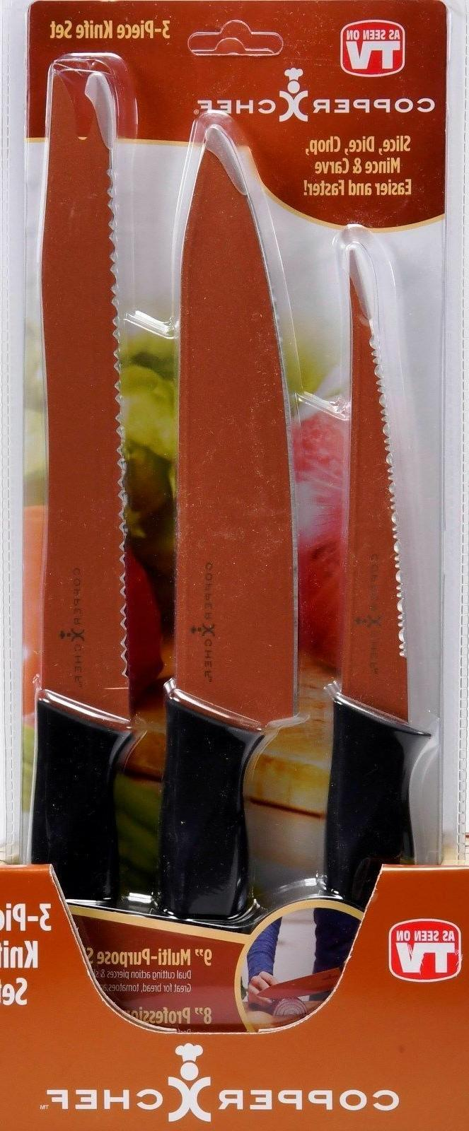 "COPPER CHEF 3-PIECE KNIFE SET WITH A 9"" MULTI-PURPOSE SLICER"