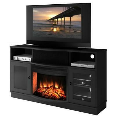 Matte Black Electric Fireplace 25-inch TV Stand Black