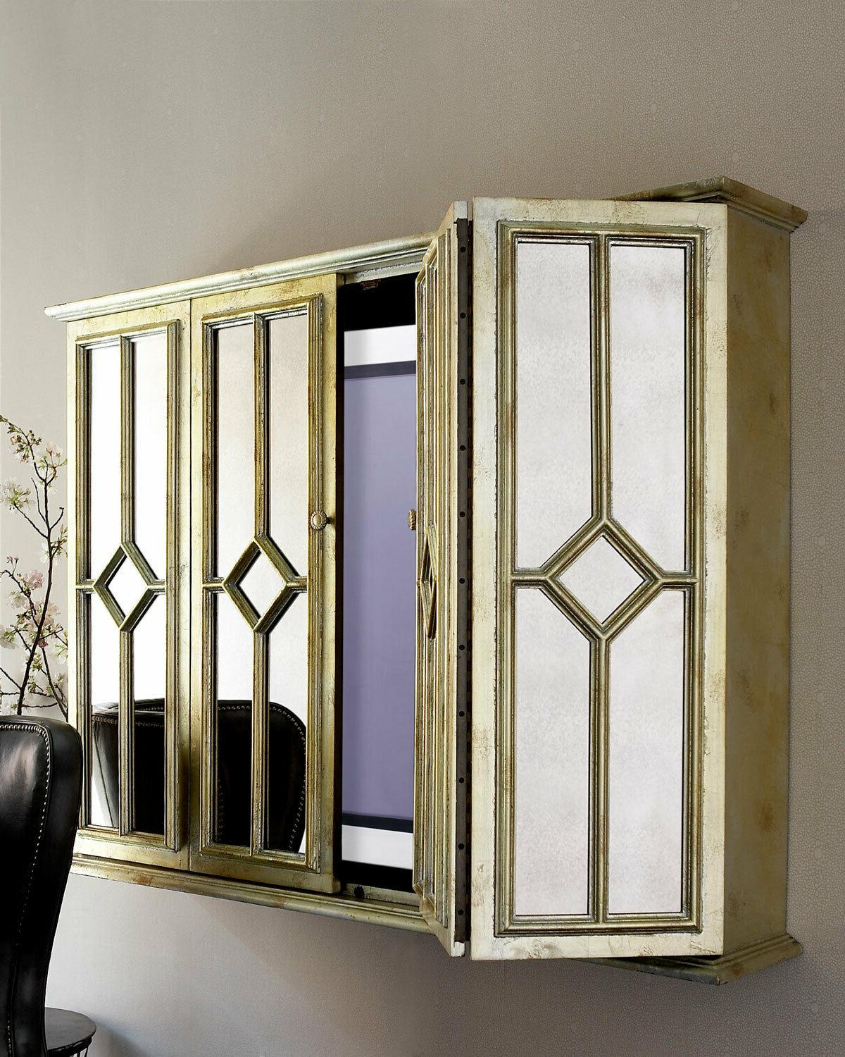 """MIRRORED WALL CABINET up to 50"""" Flat Screen TV Entertainment"""
