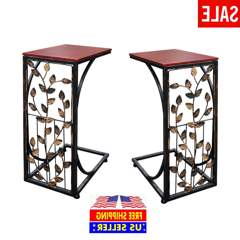 Set of 2 Leaf Side Sofa End Table Wood Top  Metal Frame Couc