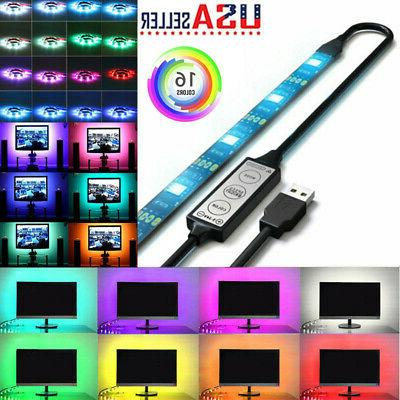 USB RGB 5050 LED Bias Lighting Strip For TV LCD HDTV Monitor