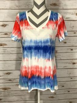 M Medium LuLaRoe Christy T V Neck NEW PRINT Tie Dye Acid Was