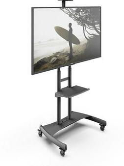 Kanto Mobile TV Stand with Adjustable shelf and flat screen