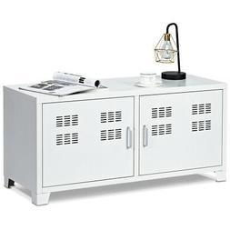 Modern Design TV Stand w/2 Door Living Room Entertainment Me