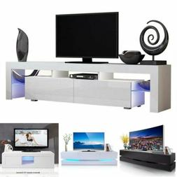 TV Stand High Gloss Cabinet Console Furniture w/LED Shelves