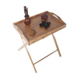 US Portable Folding Bamboo Wooden TV Tray Laptop Snacks Tea